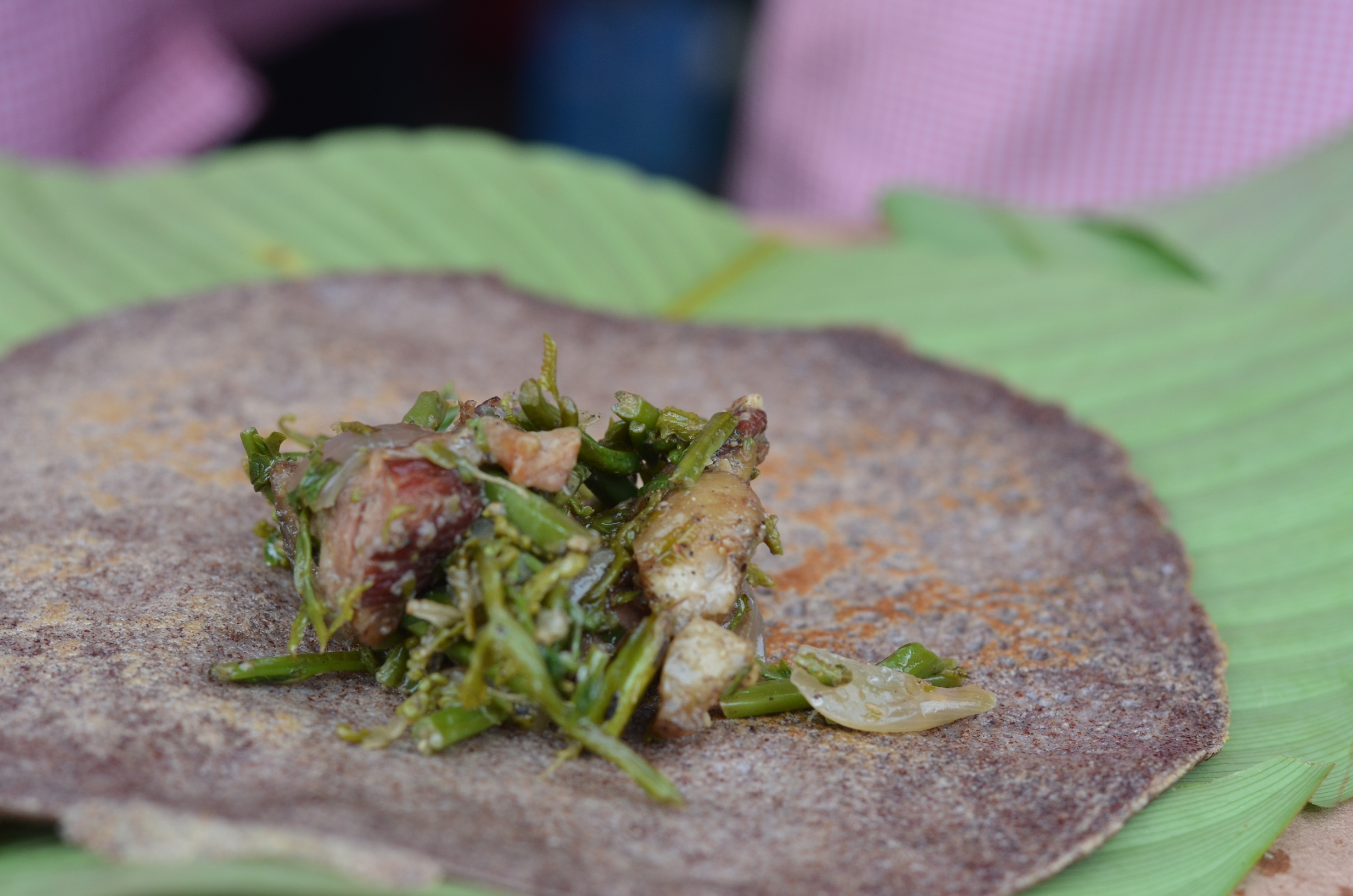 Millet crepe with fern and smoked pork filling<br srcset=
