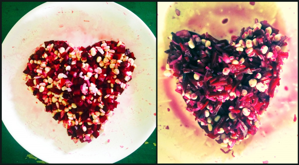 Salads plated in the shape of hearts...  Photo: NESFAS/ Rahul Antao