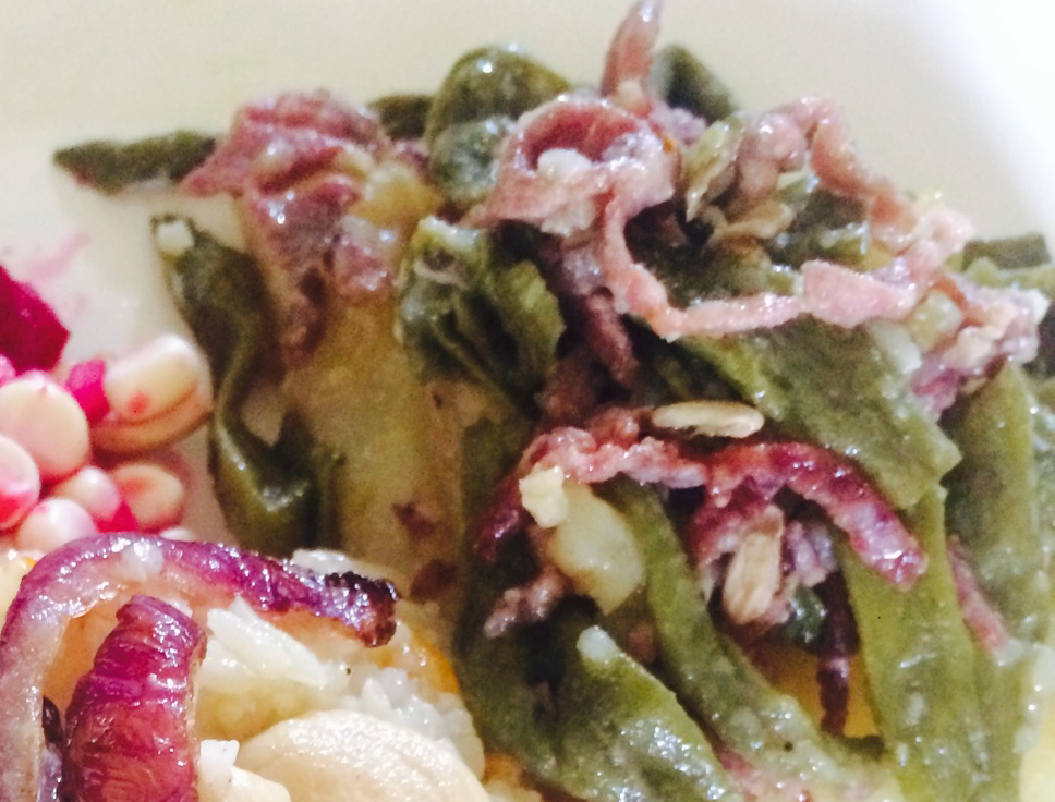 Stir-fried Potatoes with Green beans and Bacon