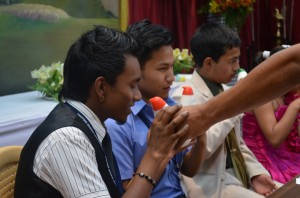 Testing the sense of smell... with students of Ram Krishna Mission Photo: NESFAS